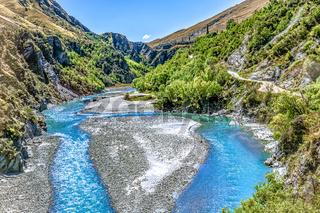 Neuseeland Südinsel -  Rafting Startpunkt am Deep Creek im Shotover River an der Skippers Canyon Road nördlich von Queenstown in der Otago Region