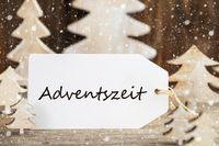 Christmas Tree, Label, Adventszeit Means Advent Season, Snowflakes