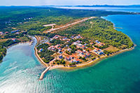Zaton beach and cap Punta Skala aerial view