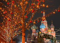 Moscow. Russia. New year entertainment on red square. Kremlin. St.Basil Cathedral. Red square is decorated for Christmas. Preparing for holiday. Winter trip to the capital of the Russian Federation