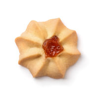 Top view of shortbread cookie with jam