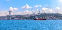 The Bosphorus strait, the bridge and the Asian coast of Istanbul