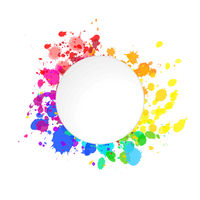 Bright colorful paint splashes of watercolor drops in rainbow colours with round text place on white
