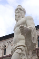 Carrara, Tuscany: detail of the Neptune sculpture in Duomo square made by the world famous sculptor Baccio Bandinelli