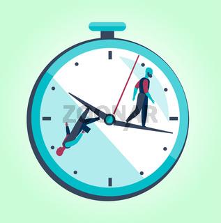 Two men walk around a big clockwork