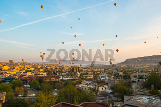 Cappadocia city skyline in Goreme, Turkey