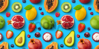 Seamless pattern of different fruits and berries, flat lay, top view, tropical and exotic texture