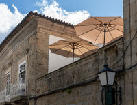 Rooftop restaurant on stone houses in Guimaraes in Portugal