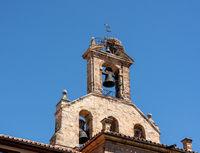 Stork nest on bell tower of Inglesia de San Martin de Tours in Salamanca Spain