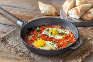 Shakshouka served in a frying pan
