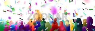 menschenmenge zuschauer silhouetten banner konfetti