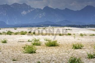 Wasserloser Forggensee im Ostallgäu, Deutschland