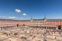 Madrid Spain, aerial view city skyline at Plaza Mayor