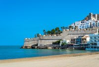 View of the medieval walled city of Peniscola, Valencia, Spain