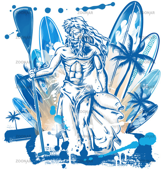 neptune surfer on surfboard background