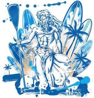 neptune surfer on surfboard background