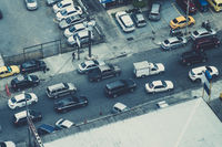 cars in city traffic from above - city aerial  -