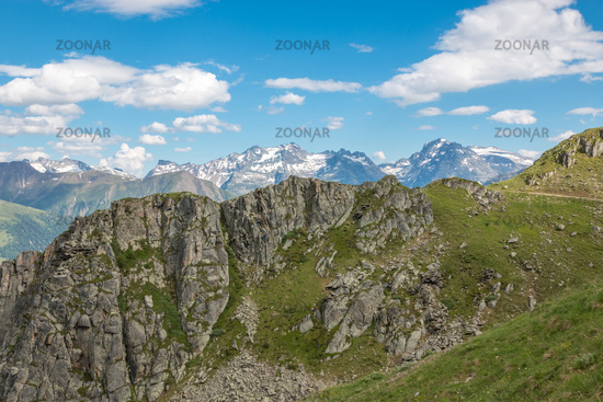 Panorama of mountains scene in national park Switzerland
