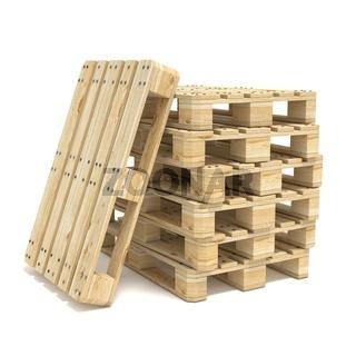 Wooden Euro pallets. 3D