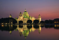 Victoria memorial lit up at sunset, Kolkata, India