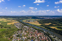 aerial view Village Binau at river Neckar, Region Odenwald, Baden-Württemberg, Germany