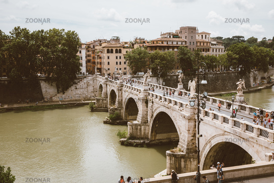 Panoramic view on the bridge of Castel Sant'Angelo and river Tiber