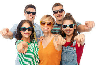 friends in sunglasses pointing at you