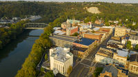 Aerial View Isolated on the State Capital City Downtown Frankfort Kentucky