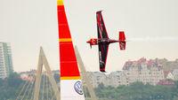 Racing airplane on track