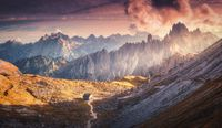 Autumn landscape with mountain valley in Dolomites, Italy