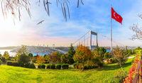 Sultan Fatih Mehmet Bridge in Otagtepe park, Istanbul, Turkey