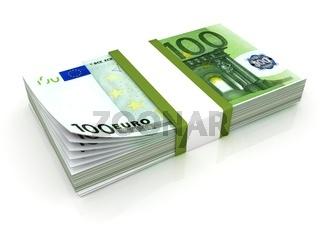 Stack of hundreds euros