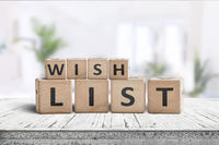Wish list sign made of wooden blocks