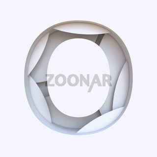 White abstract layers font Letter O 3D