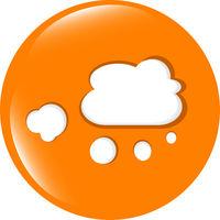 white cloud on internet web icon isolated on white