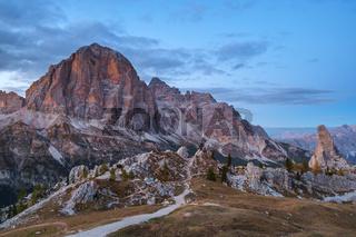 Autumn scene in Dolomites mountain