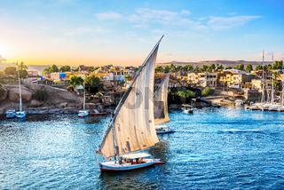 Sunny sunset in Aswan