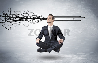 Businessman meditates with purifying doodle concept