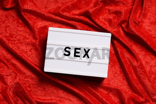 sex abstract concept word on lightbox
