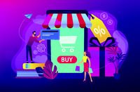 Smart retail in smart city concept illustration.