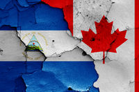 flags of Nicaragua and Canada painted on cracked wall