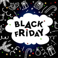 Black Friday Sale, template with doodle decorative elements on chalkboard background, vector illustration.