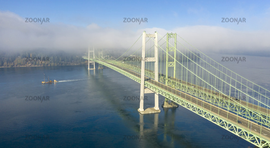 Commutters Travel Back and Forth Tacoma Narrows Bridges Tacoma