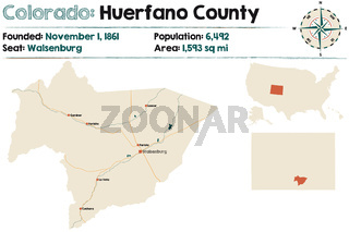 Map of Huerfano County in Colorado
