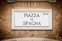 Street sign: Piazza di Spagna (Spain Square) in Rome