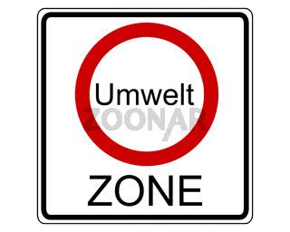 Verkehrsschild Umweltzone - Traffic sign enviromental zone