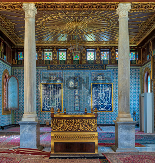 Public mosque of Manial Palace of Prince Mohammed Ali Tewfik with wooden golden ornate ceilings, Cairo, Egypt