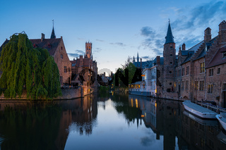 Bruges city skyline at night in Bruges, Belgium
