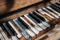 music concept - vintage piano keyboard closeup  - piano keys