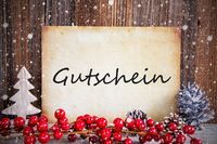 Christmas Decoration, Paper With Text Gutschein Means Voucher, Snow